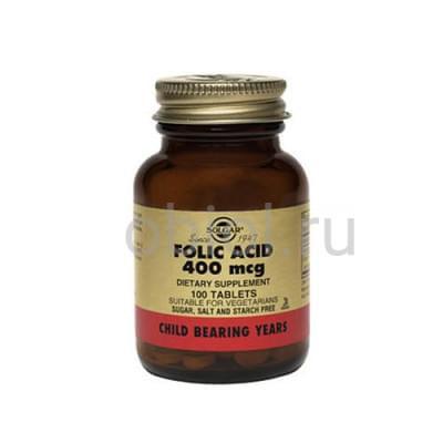 Solgar / Таблетки Фолиевая кислота №100
