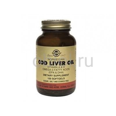 Solgar / Витамины А и D, в жире из печени норвежской трески 100 капсул