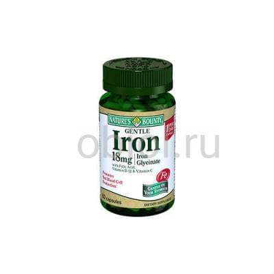 Nature`s Bounty / Легкодоступное железо 18 мг 60 капсул
