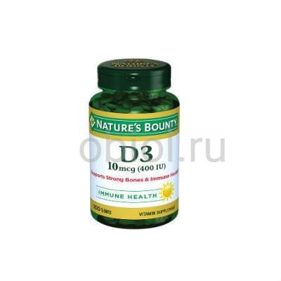 Nature`s Bounty / Витамин D3 400 МЕ 100 таблеток