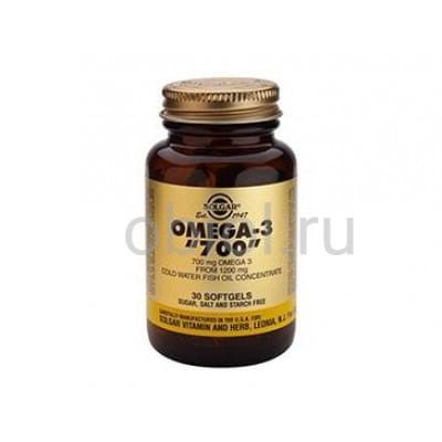 Solgar / Двойная Омега 3, полезные жировые кислоты 700 мг 30 капсул