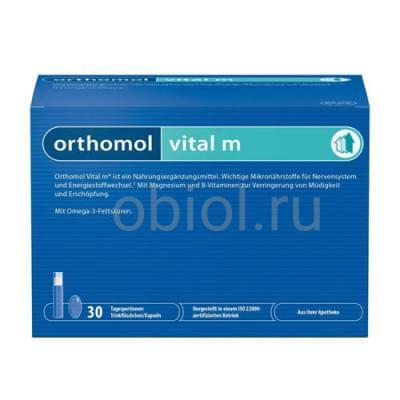Orthomol / Vital M мультивитаминный комплекс для мужчин жидкость 20 мл + капс. 800 мг + капс. 700 мг №30