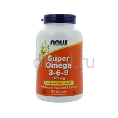Now Foods / Супер Омега-3-6-9 180 капсул