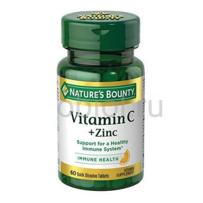 Nature`s Bounty / Витамин С плюс цинк таб. Растворимые, 750 мг, №60 (БАД)
